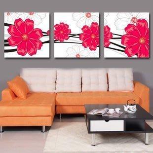 【優上精品】抽象紅花無框畫三聯現代客廳裝飾畫沙發背景墻壁畫臥室床頭掛畫(Z-P3242)