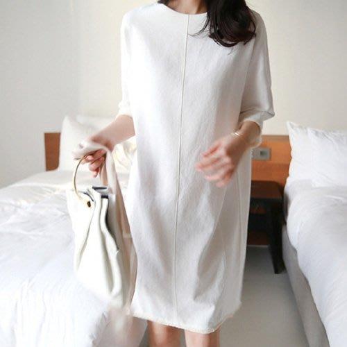 棉麻五分袖短袖洋裝韓風 線條美感中袖流蘇邊連身裙 艾爾莎【TGK6684】