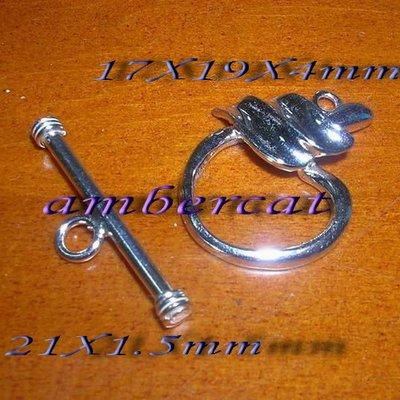 琥珀貓~【925純銀材料配件】OT扣~N8296~17X19mm蘋果~一組
