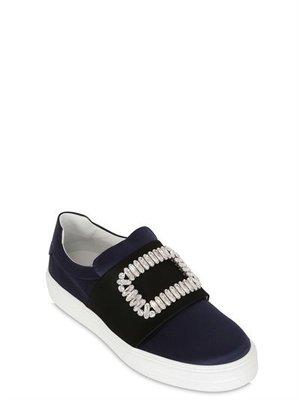 ~The Black Dan Moccani~ [經典] ROGER VIVIER SNEAKY 綢緞/絲質 方釦懶人鞋