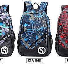 雙肩包男中學生書包男時尚潮流初中生高中生大學生背包休閒旅行包後背包夜光效果