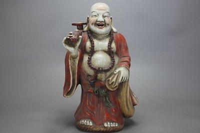 ㊣姥姥的寶藏㊣福建會館粉彩彌勒佛送如意雕塑瓷 古玩 古董