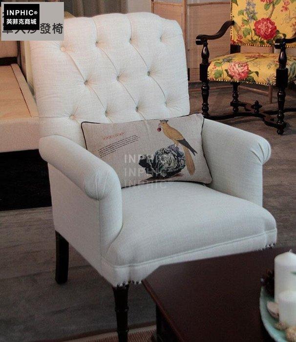 INPHIC-美式休閒客廳拉扣布面單人沙發椅 高檔書房扶手椅_Y328