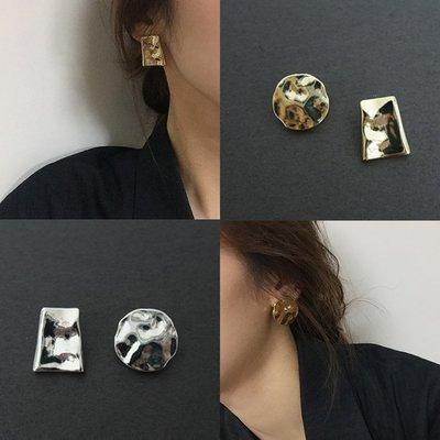 【hi_sweet_sour】凹凸紋理穿耳耳環 金色/銀色