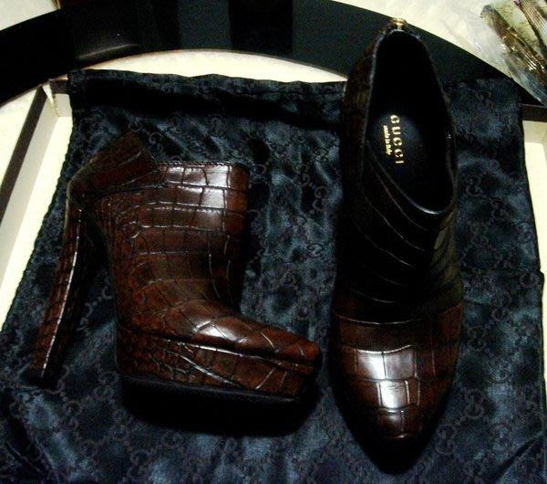 小小時尚家,超限量珍藏GUCCI百年工藝鱷魚皮超美魔女貴婦款鞋..時尚超值價!