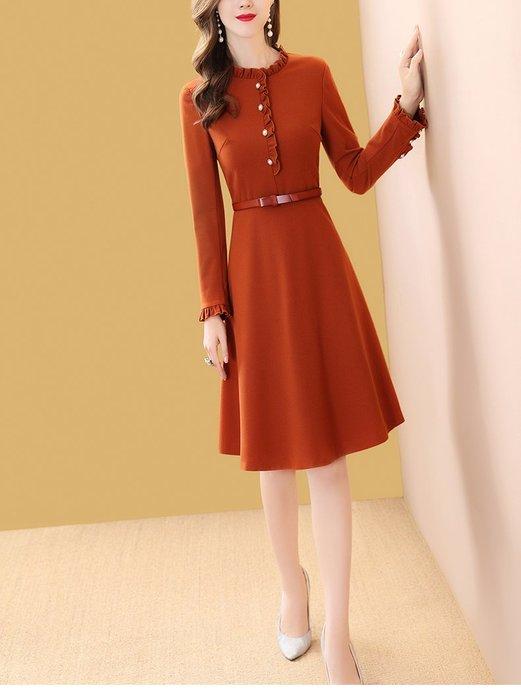 妞妞婚紗禮服~婆婆媽媽修身顯瘦橘色A字裙修身洋裝連衣裙禮服 ~3件免郵