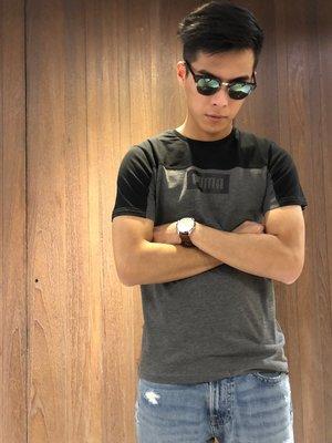 美國百分百【全新真品】PUMA 短袖 T恤 上衣 圓領 男款 T-shirt 拼色 撞色 logo 黑灰 S號 I892
