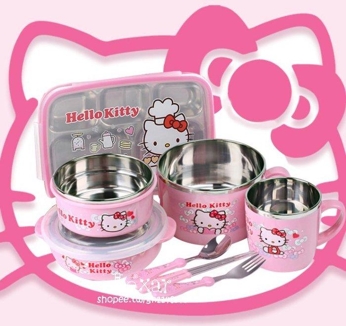 hellokitty兒童餐具套裝嬰兒寶寶帶蓋碗304不銹鋼防摔輔食碗