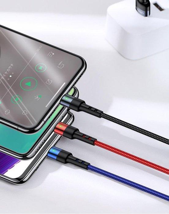 『四號出口』 現貨 保固 【 USAMS 優勝仕 】Type-c Micro iPhone 彈簧型 三合一 2A 充電線