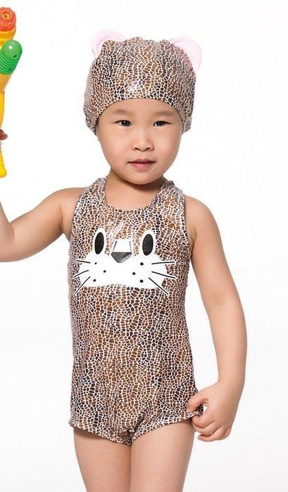 ~有氧小舖~APPLE蘋果牌 幼童連身背心泳裝 小朋友豹紋泳衣 附造型泳帽