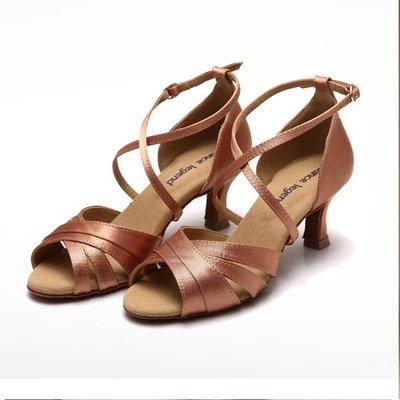 5Cgo【鴿樓】會員有優惠 541084955963 女拉丁舞鞋女成人緞面低中跟3.5CM 5.5CM摩登恰恰國標交誼