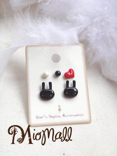 韓國♥俏麗立體酷黑兔兔+愛心+黑白糖球貼耳耳環盤♥5只一組