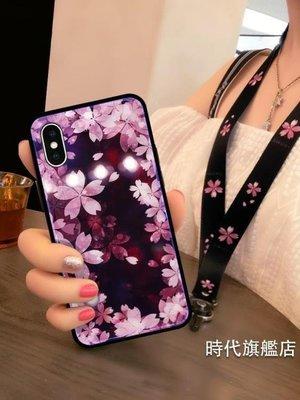 哆啦本鋪 手機殼蘋果X手機殼IPHONEXS套硅膠軟XMAX紫光玻璃掛繩櫻花網紅新款女 D655