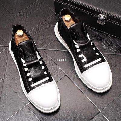 發發潮流服飾新款男士鞋厚底內增高白色樂...