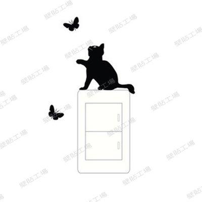 壁貼工場-小號壁貼 牆貼 貼紙 開關貼- 組合貼 HK-3928 貓