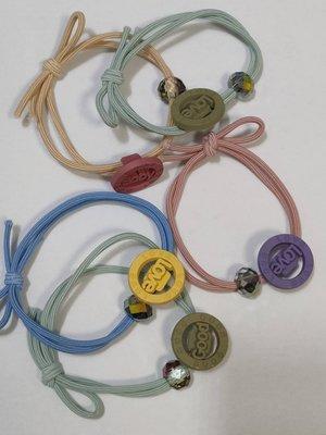 新款韓國皮筋紮頭髮 字母圓盤水鑽串珠10入 頭繩小清新髮繩髮圈 綁馬尾橡皮筋