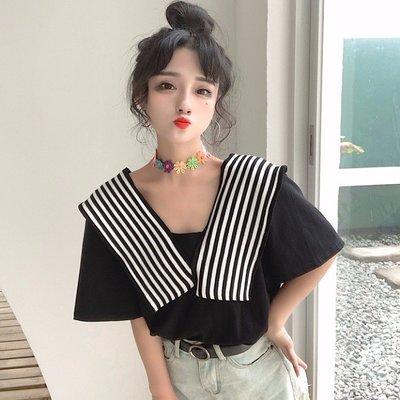 小香風 短袖T恤 時尚穿搭 韓版 網紅心機設計感漏鎖骨上衣條紋寬松 顯瘦 T恤女潮