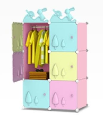 6門1掛衣柜嬰兒童寶寶小衣櫥簡易塑料布收納柜子組裝igo