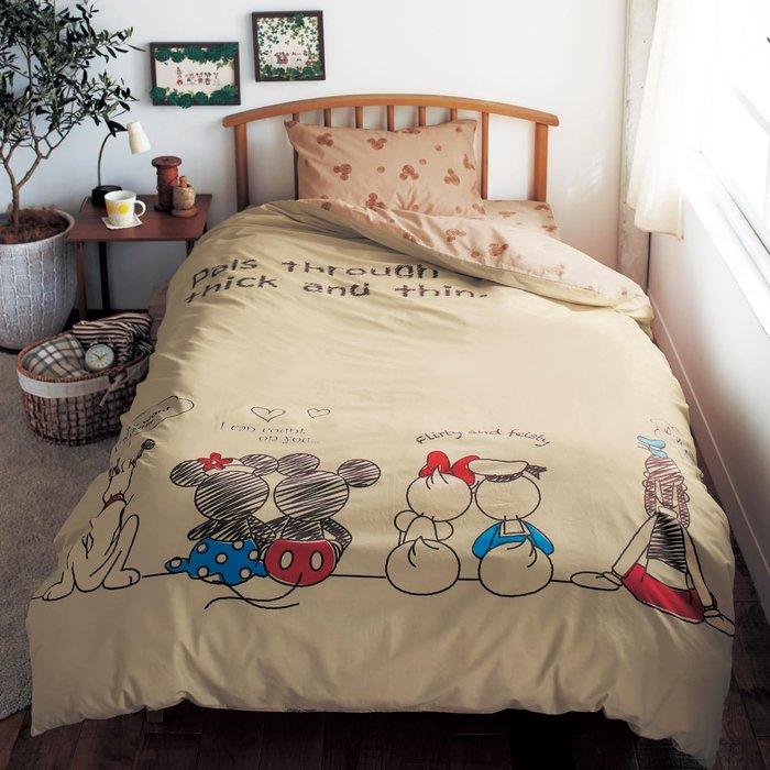 迪士尼Diseny《預購》米奇米妮 手繪風 100%棉 單人三件式床包組~日本正品~心心小舖春