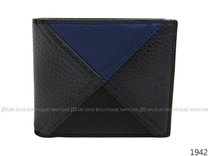 金鐸精品~1942 COACH F56599 藍黑色拼接皮革紋8卡證件短夾 全新品
