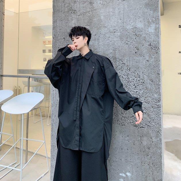 FINDSENSE 2019 秋季上新 G19 山本風不規則門襟廓形飄帶文藝長袖襯衫寬鬆素面襯衫 男裝 上衣