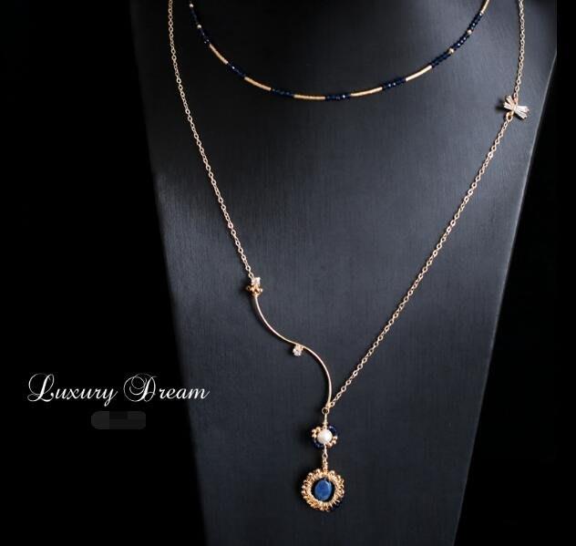 雙層項鏈鎖骨鏈 天然尖晶石青金石 氣質輕複古頸鏈 生日禮物—莎芭