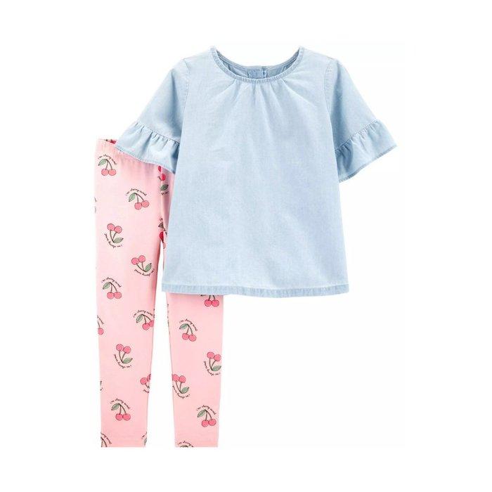 【Carter's】CS女童短袖牛仔上衣+櫻桃粉褲 F03190830-13