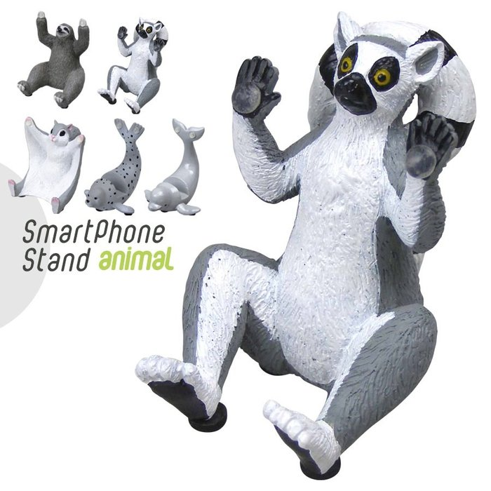 【beibai不錯買】日系雜貨 zakka 日本進口 動物手機架 環尾狐猴 (ANIMAL SMART PHONE ST