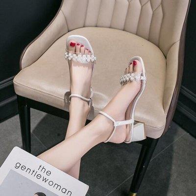 涼鞋女2020年新款仙女風粗跟網紅ins新潮珍珠細帶一字帶夏季高跟鞋 全館免運