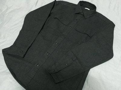 GU 重磅硬挺軍裝型工作長袖襯衫 黑灰 size M UNIQLO WEGO rageblue