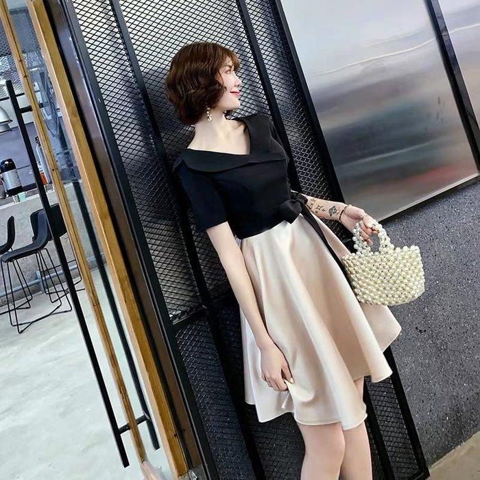 法式收腰名媛優雅短袖氣質小禮服連身裙洋裝