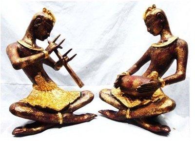 INPHIC-宗教 東南亞 家居飾品 泰國風格 泰式木雕 擺飾 工藝品 吹笛打鼓傭個