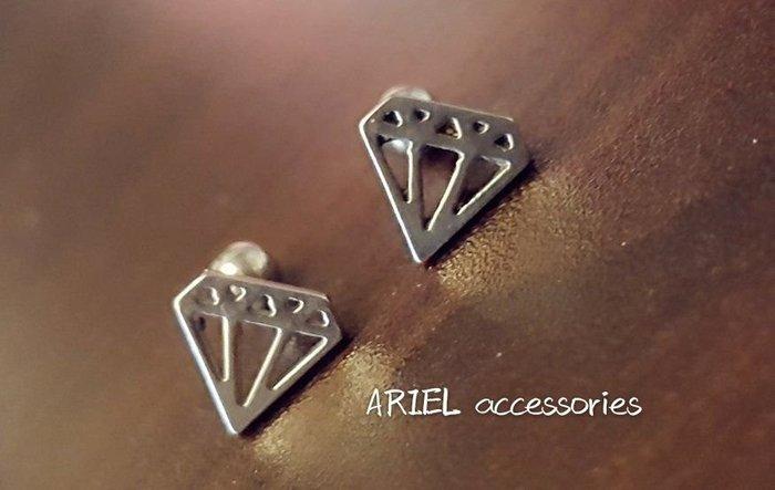 愛麗兒韓國飾品 醫療鋼針 銀色鑽石旋轉轉粗針耳環1支直徑9mm~8mm