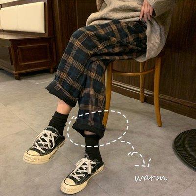 經典復古不退流行冬季直筒褲 格紋彈力腰毛呢寬管長褲 艾爾莎【TAE8648】