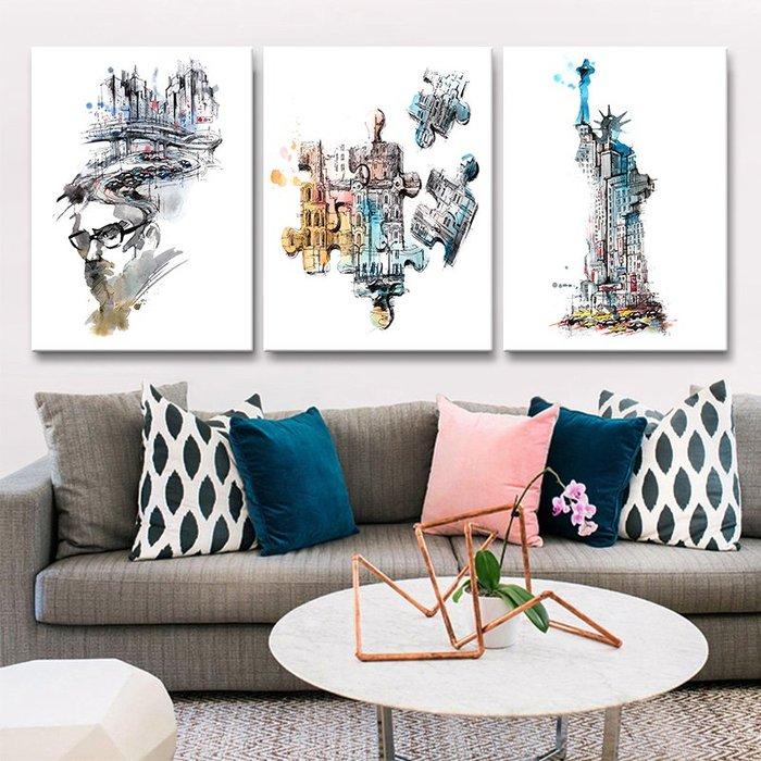 聚優名品 北歐客廳裝飾畫沙發背景墻壁畫單聯現代簡約餐廳簡歐風景抽象掛畫