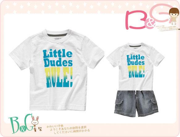 【B& G童裝】正品美國進口Crazy8 Little Dudes Rule Tee白色短袖上衣18-24mos