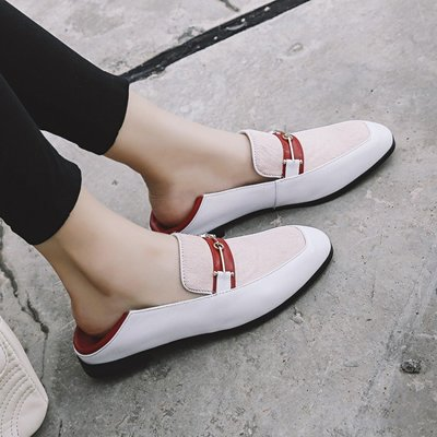 H.G.M 歐美 真皮 踩拖兩穿型金屬 穆勒鞋 平底 拼色樂福鞋 HOK1497