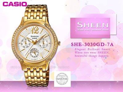 CASIO 卡西歐 手錶專賣店 SHEEN SHE-3030GD-7A女錶 不鏽鋼錶帶 防水
