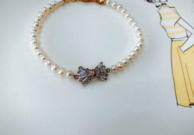 Ferron Accessories   F23 蝴蝶鋯石珍珠優雅手鍊  訂製 Handmade 復古 歐美 黃銅