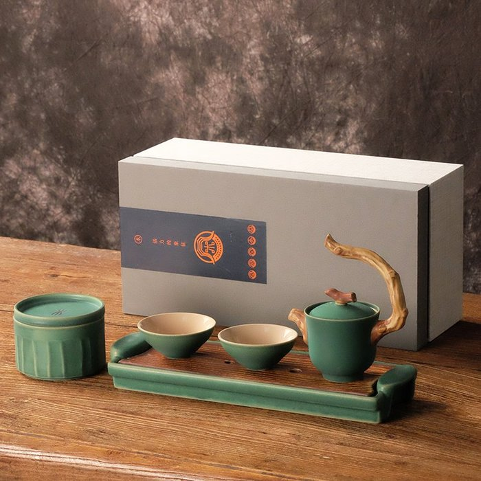 貓先生  五行陶瓷 茶具套裝 家用簡約 日式功夫 汝窯快客 杯便攜式 旅行泡茶 禮盒