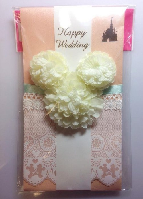 Ariel's Wish-東京迪士尼婚禮小物立體花朵蕾絲滾邊結婚禮金袋紅包袋禮物袋過年紅包袋祝壽紅包袋生日紅包-現貨*1