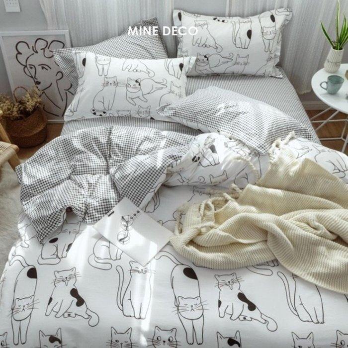 【MINE DECO】【標準雙人】(免運現貨)全棉可愛貓咪印花四件式床包組/被套/床包/床笠/枕套/床單M0598