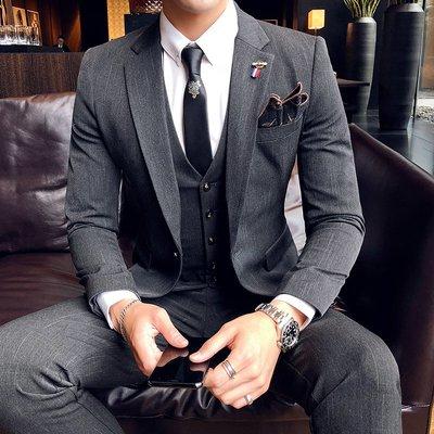 【時尚先生男裝】秋冬季西裝男套裝韓版修身潮流帥氣男士西服三件套上班正裝新郎裝韓版西裝 修身西裝 整套西裝 西裝褲 西裝外套正式西裝A0022