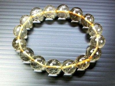 □§Disk的天然水晶§□【閃亮金光】AA級鈦金髮晶圓珠手鍊(13mm)FO-31