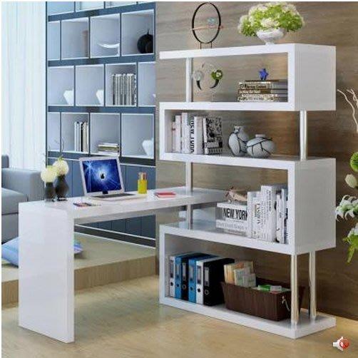 旋轉 電腦桌(轉角台式家用)辦公桌 寫字台帶書架書櫃簡易 書桌