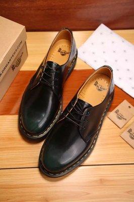 Dr.Martens 馬丁鞋 馬汀鞋 經典1461 3孔  復古擦色綠【 BRITISH LOOK 】