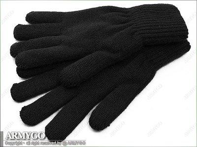 【ARMYGO】※加厚雙層※ 國軍制式黑色保暖毛線手套