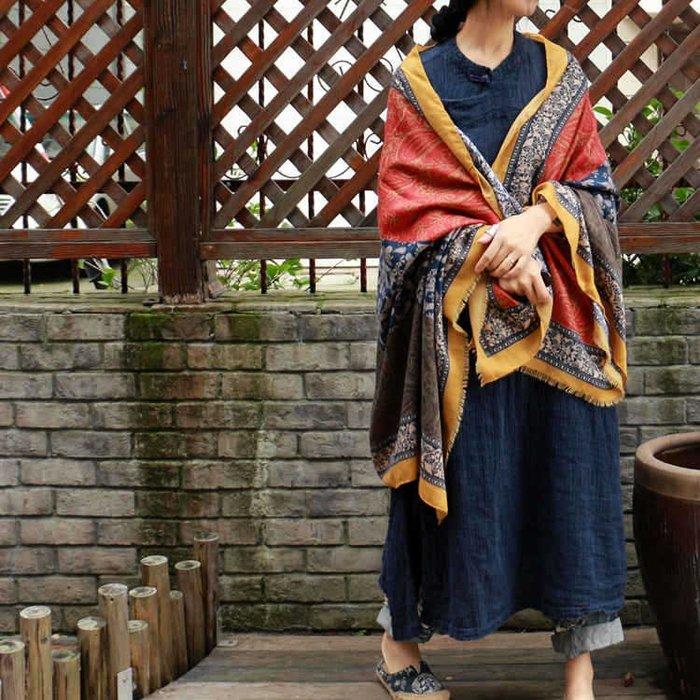 【子芸芳】原創復古花紋舒適棉質民族風大圍巾披肩