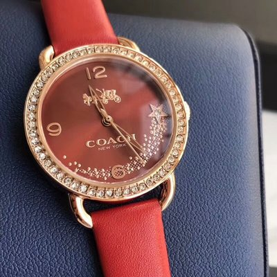 ㊣國際品牌COACH庫㊣ COACH 14502668【2件免運】2017新款女錶 皮錶帶手錶 星星鉆氣質女手錶