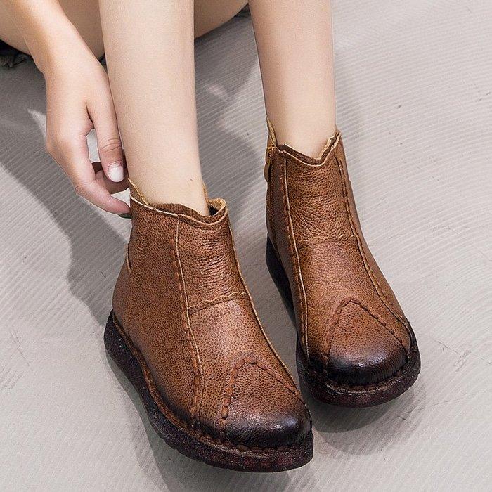*菇涼家*冬季软底真皮加绒復古单靴保暖中老年棉鞋防滑平底女靴